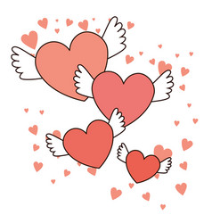 happy valentines day red hearts with wings vector image