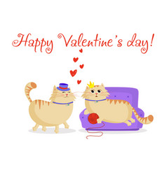 happy valentines postcard with cute cartoon vector image