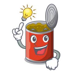 Have an idea canned food on the tablecloth cartoon vector