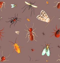 insects seamless pattern with moths ants vector image