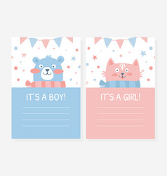 it is a girl boy cute bacard templates set vector image