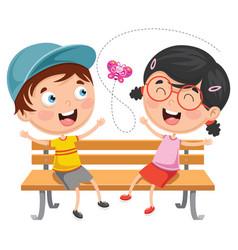 Kids sitting on park bench vector