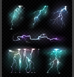 Lightning bolts transparent set vector