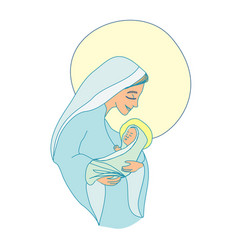 Madonna and child jesus - isolated characters vector