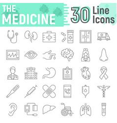 Medicine thin line icon set hospital symbols vector