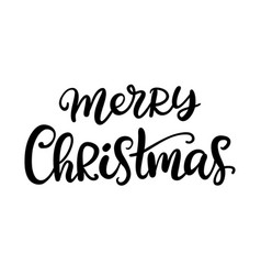 merry christmas brush calligraphy vector image