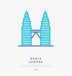 Modern landmark kuala lumpur thin line icon vector