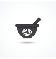 Mortar and pestle icon vector
