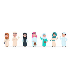 Muslim kids islamic children cartoon characters vector