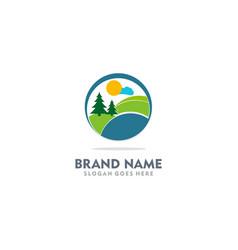Nature village landscape logo vector
