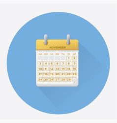 novemberfor 2019 calendar vector image