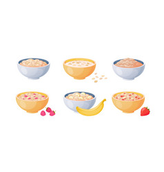 Oat bowls cartoon porridge with strawberries and vector