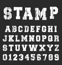 old textured alphabet font template vector image