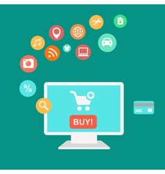 Online shopping and e-commerce concept buying vector image