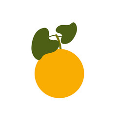 orange fruit icon with leaf healthy lifestyle vector image