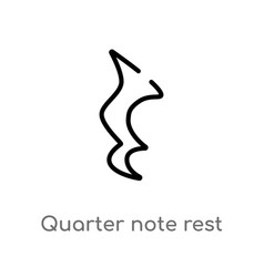 Outline quarter note rest icon isolated black vector