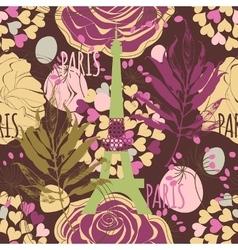 paris seamless pattern eiffel tower roses vector image