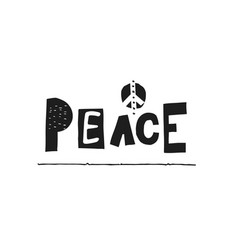 peace lettering typography calligraphy vector image