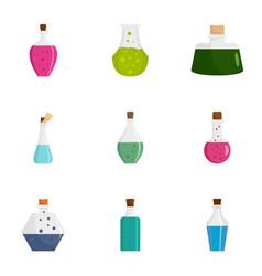 potion bottle icon set flat style vector image