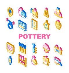 Pottery production collection icons set vector