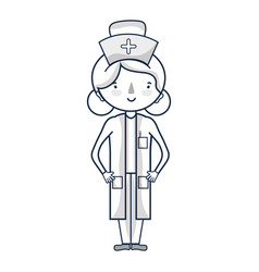 professional nurse with hat in the head vector image