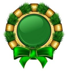 Round chrismas frame with bow vector image