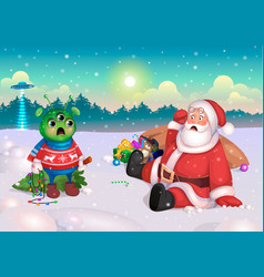 santa and alien happy new year postcard vector image