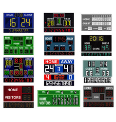scoreboard time and clock information displays vector image