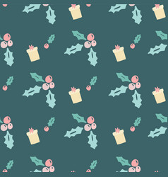 Seamless christmas holly leaves presents vector