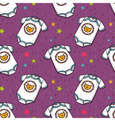 Seamless pattern with cute babodysuit vector