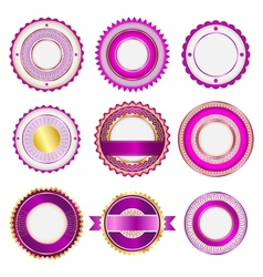 Set of badges labels and stickers in pink vector image