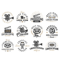 set of cinema emblems vector image
