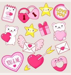 set of cute valentines day icons in kawaii style vector image
