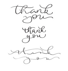 Set of hand drawn thank you text on white vector