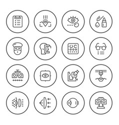 set round line icons of ophthalmology vector image