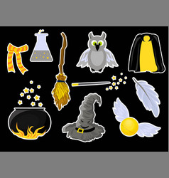 Set stickers on theme harry potter and vector