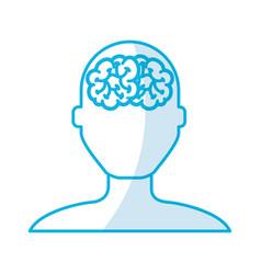Shadow blue brain faceless vector