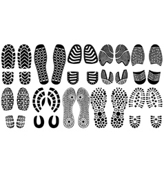 Shoe print silhouettes vector image