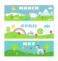 Spring Months Calendar Flashcards Set Nature vector image