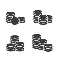 stacks coins icons vector image