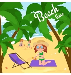 Summer children kids playing in sand on beach vector