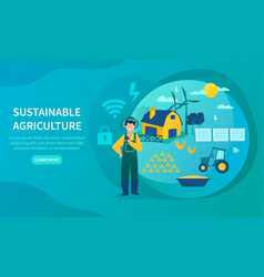 sustainable agriculture concept using green energy vector image