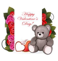 Teddy bear with roses vector