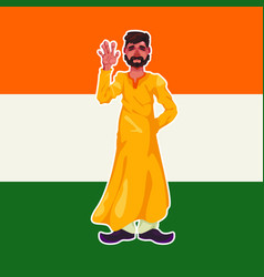The indian in yellow traditional clothes stands on vector