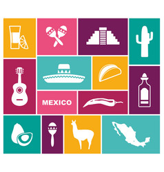 traditional symbols of mexico flat icons vector image