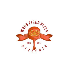 vintage pizza logo design inspiration isolated on vector image