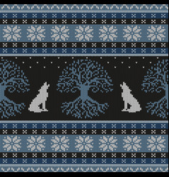 Winter night tree of life and howling wolves vector