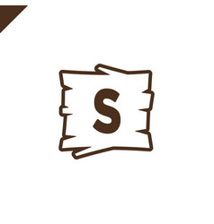 Wooden alphabet or font blocks with letter s in vector