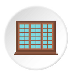 Wooden brown tricuspid window icon circle vector