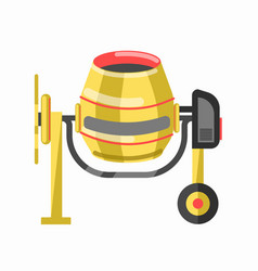 Yellow concrete mixer in cartoon style flat design vector